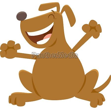cheerful dog cartoon animal character