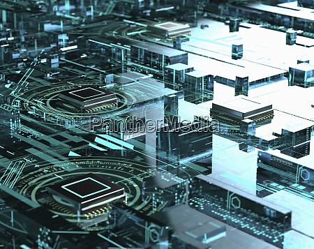 komplexes netzwerk von computer zentralverarbeitungseinheiten