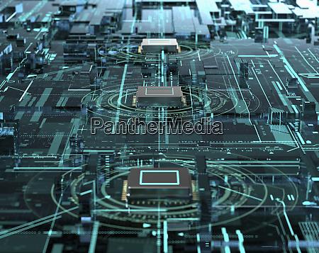 reihe von computerverarbeitungseinheiten komplexes digitales technologienetzwerk