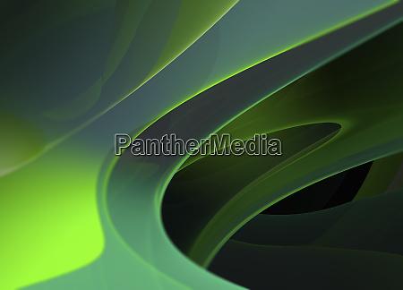 abstrakte mehrschichtige transluzente gruene formen