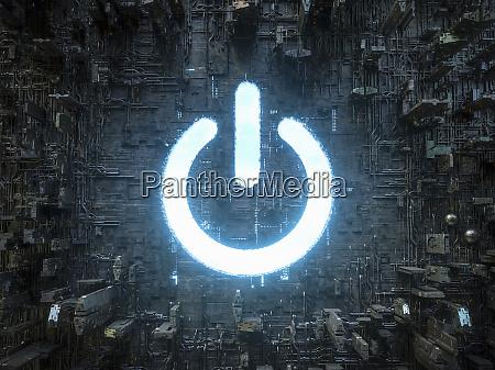 blauer himmel power buttop symbol leuchtet