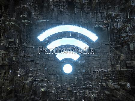 blauer himmel wifi symbol leuchtet in