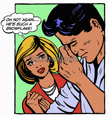 woman thinking her stressed boyfriend is