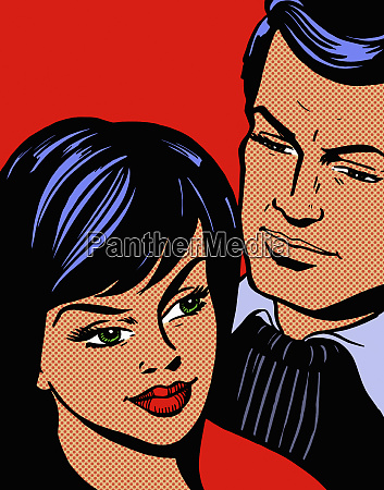 close up of dark haired couple