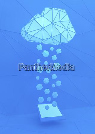 geometrische wolken ueber dem digitalen tablet