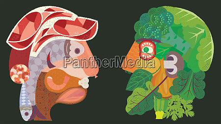 kontrastkoepfe aus fleisch und fisch versus