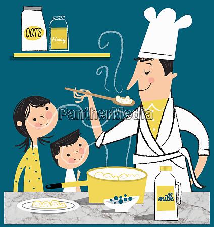 father making porridge for children