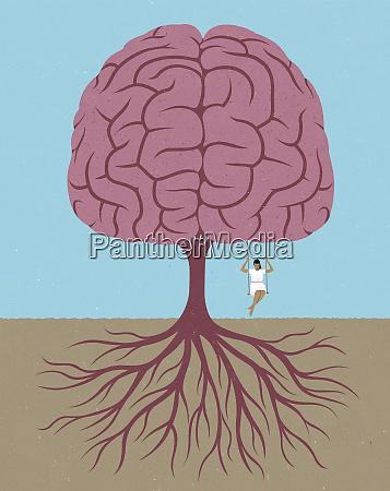 frau schwingt vom hirnbaum