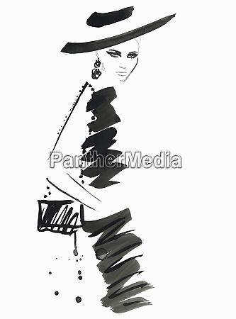 fashion illustration of model wearing black