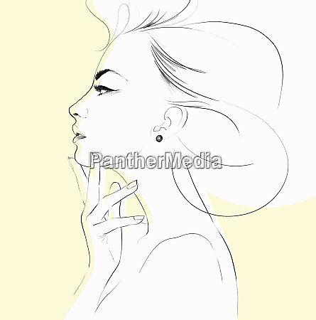pencil sketch of beautiful womans profile