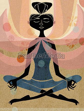 frau meditiert in lotus position