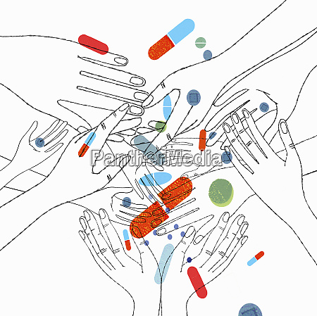 lots of hands reaching for pills