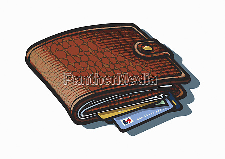 credit cards poking out of wallet
