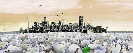 stadtbild ertrinkt in plastikmuell