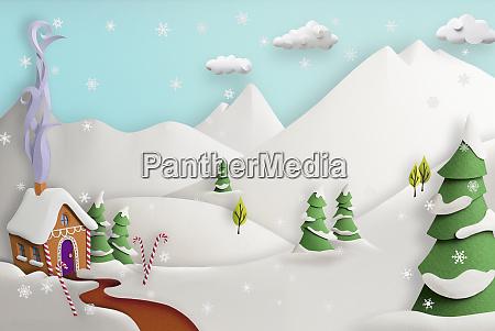papierskulptur von niedlichen lebkuchenhaus im schnee