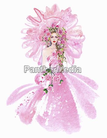 mode modell in rosa abendkleid mit