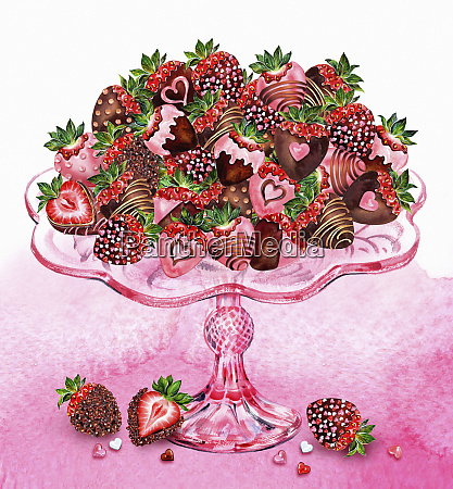 heap of chocolate coated strawberries decorated