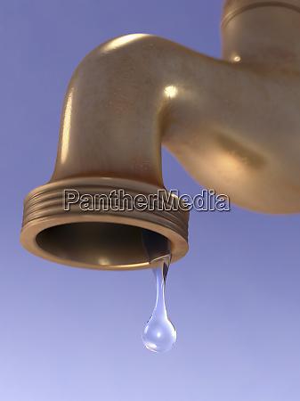 wasser, tropft, aus, dem, wasserhahn - 26827703