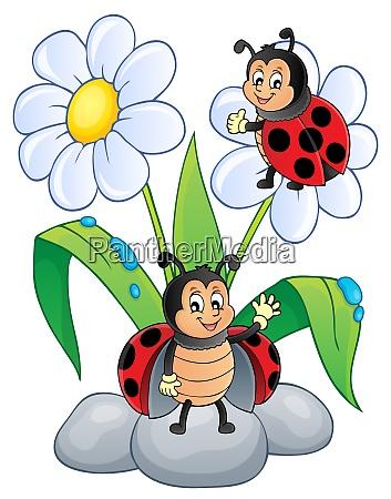 flower and happy ladybugs theme image