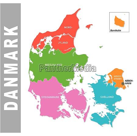 bunte daenemark administrative und politische karte