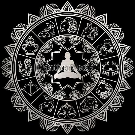 horoskop astrologie tierkreis silber meditation kreis
