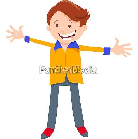 happy boy character cartoon illustration