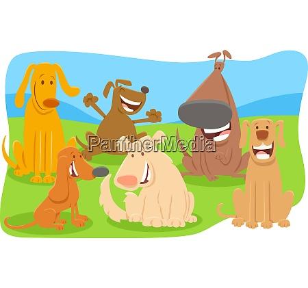 hunde haustier welpe tiere gruppe cartoon