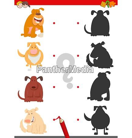 schattenspiel mit cartoon hunden oder welpen