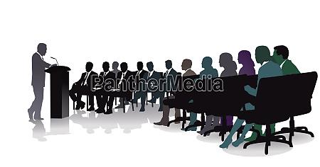 diskussion und podiumsdiskussion von geschaeftsleuten