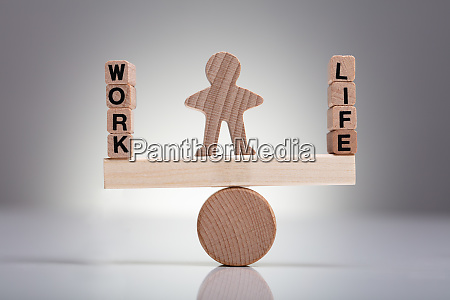 work and life block auf holz