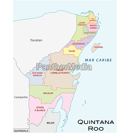 quintana roo administrative and political vector