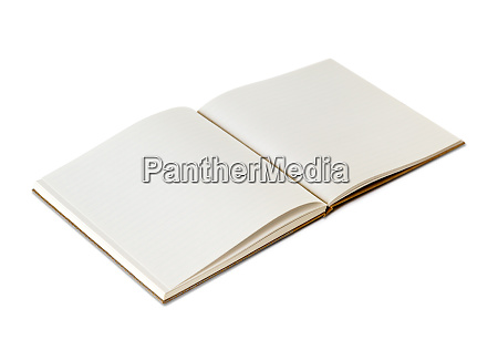 open blank notebook isolated on white