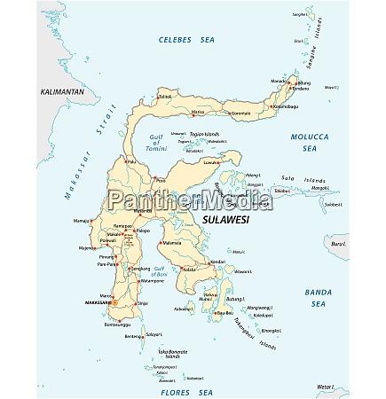 vector roads map of indonesian island