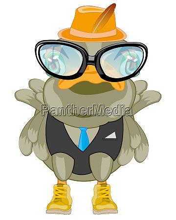 karikatur des vogels bespectacled und anzug