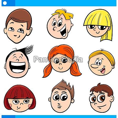 children or teens cartoon characters set