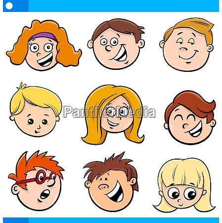 kids or teens cartoon characters set