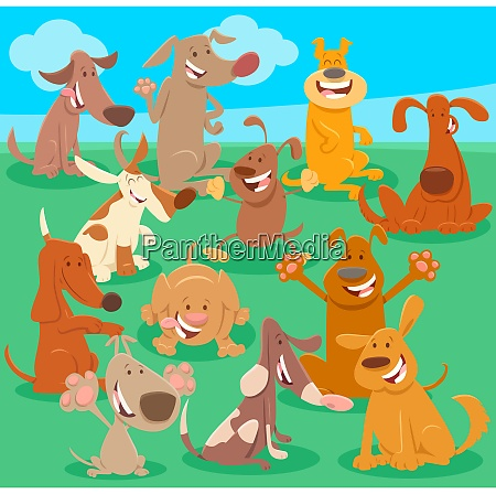many dogs cartoon characters group