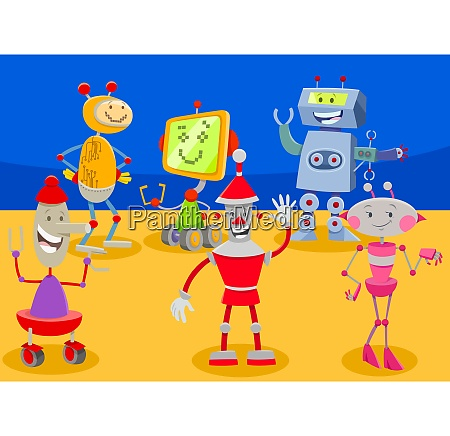 funny robots cartoon characters group
