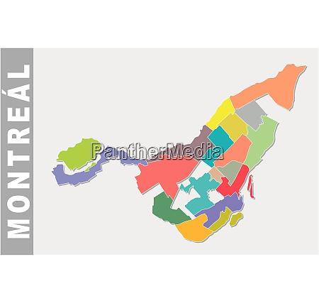 bunte montreal administrative und politische karte