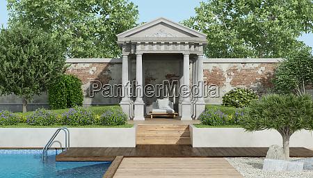 luxusgarten mit kleinem neoklassizistischen tempel und