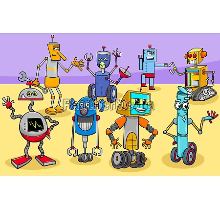 funny robots cartoon fantasy characters group