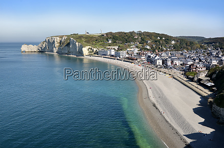 aerial view of etretat in france