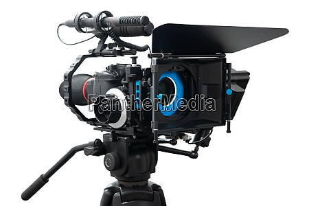 dslr video camera rig isolated on