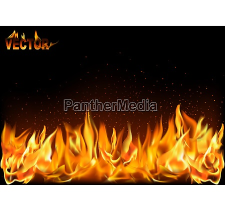 realistic fire flames on black background