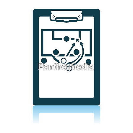 soccer coach tablet with scheme of