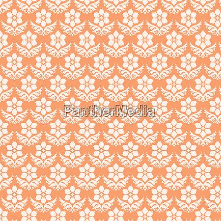 orange damast blumenmuster auf pastell hintergrund