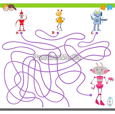 maze game with cartoon robot characters