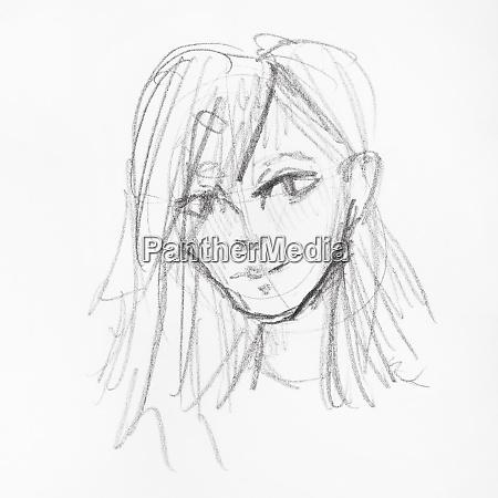 skizze des kopfes des maedchens mit