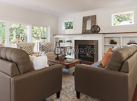 sofas and fireplace in living room