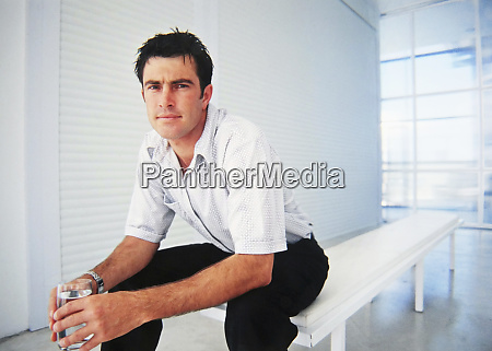 caucasian businessman sitting in office